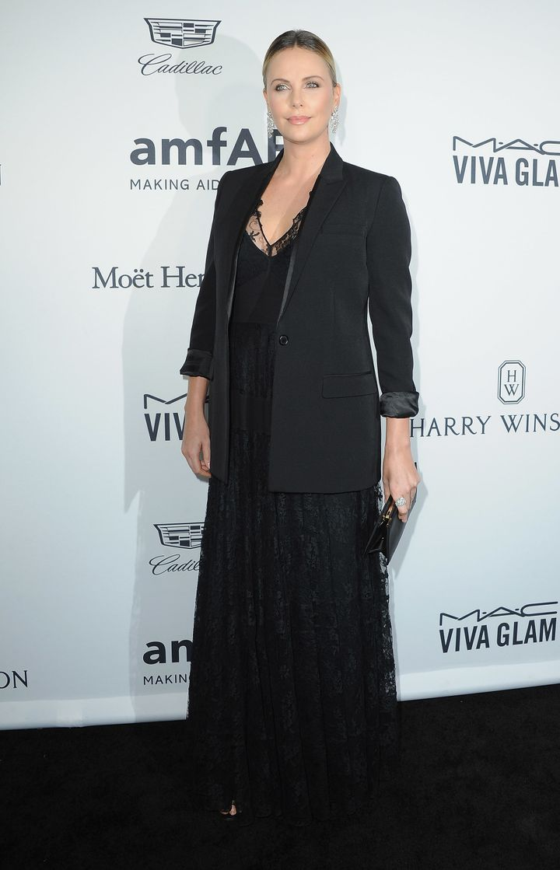 Charlize Theron on the red carpetat amfAR's Inspiration Gala.