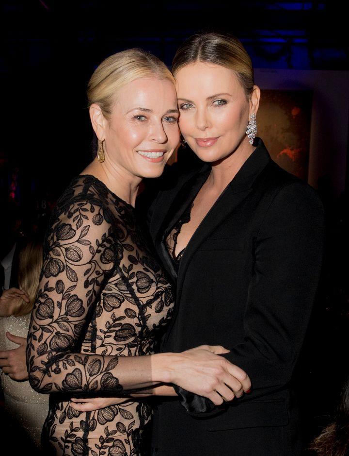 Chelsea Handler andCharlize Theron attend amfAR's Inspiration Gala.