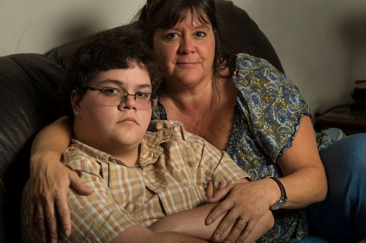 Gavin Grimm, 17, left, is photographed with his mom, Deirdre Grimm, in Gloucester, Virginia, on Aug.21, 2016.The