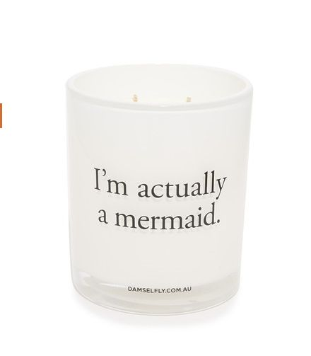 "I'm Actually A Mermaid Candle, $59, <a href=""https://www.shopbop.com/actually-mermaid-candle-damselfly/vp/v=1/1543708635.htm?"