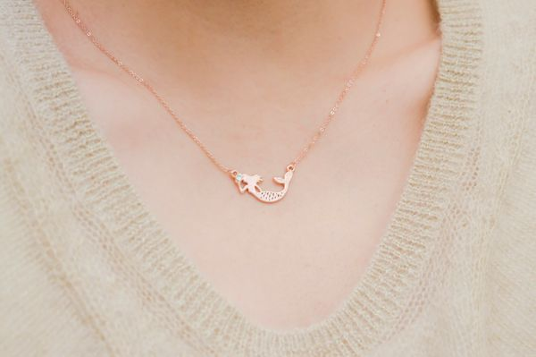 "Mermaid Rose Gold Necklace, $12.99, <a href=""https://www.etsy.com/listing/260607987/mermaid-necklace-mermaid-jewelry-fantasy?"