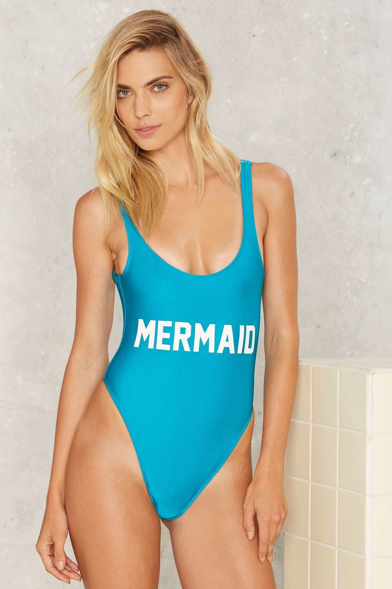 "Private Party Mermaid Swimsuit, $99, <a href=""http://www.nastygal.com/product/private-party-mermaid-swimsuit"" target=""_blank"""