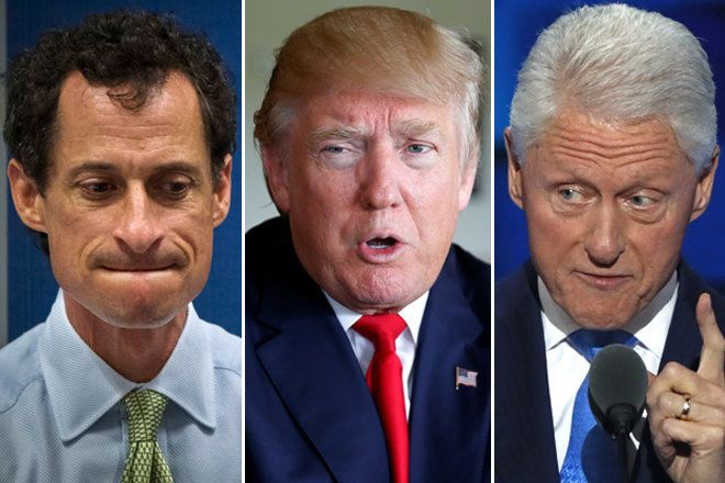 Former Rep. Anthony Weiner (D-N.Y.), GOP presidential nominee Donald Trump and former Democratic President Bill Clinton. Than