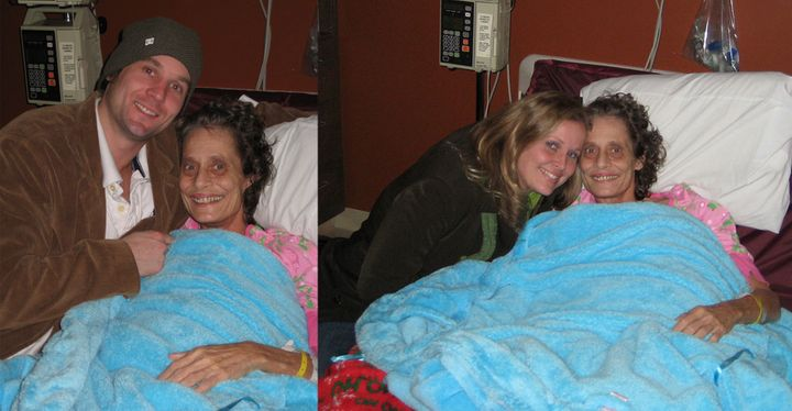 <p>My brother and I with my mother, Cindy Robinson, in the hospital in 2008 after she had colorectal surgery. The surgery left her with a permanent colostomy. There are no photos of her numerous hospitalizations due to schizophrenia, since photos are never allowed.</p>