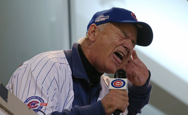 Bill Murray sings 'Take Me Out to the Ball Game' during Game 3 of the World Series between the Chicago Cubs and Cleveland Ind