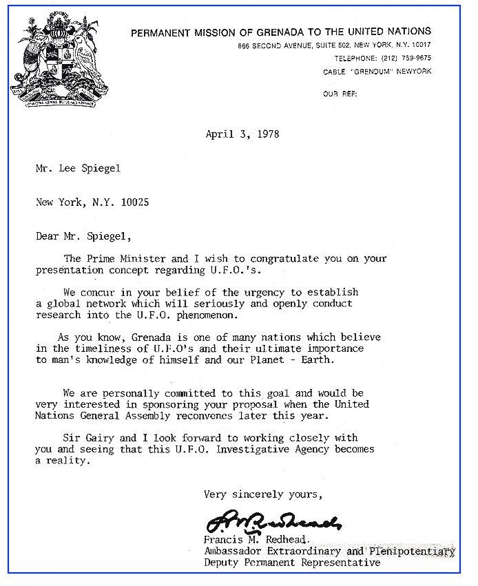 This 1978 letter from Grenada to Lee Speigel confirmed that country's commitment to sponsor Speigel's UFO presentation at the