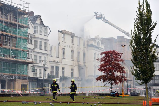 More than 100 fire fighters fought the blaze which started in an art gallery next door to the historic