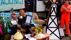 Fracking Protest Blocks Bank Entrance With Entire Living Room Complete With Tea And