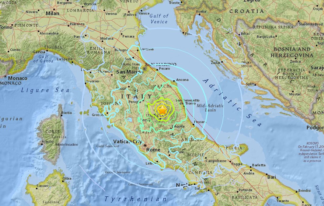 The earthquake struck central Italy on Sunday.