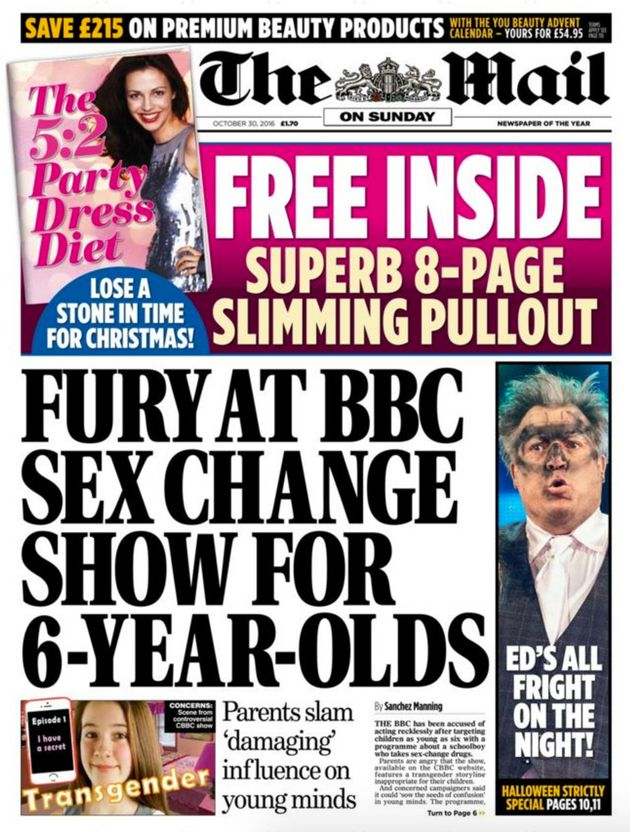The Mail on Sunday's front