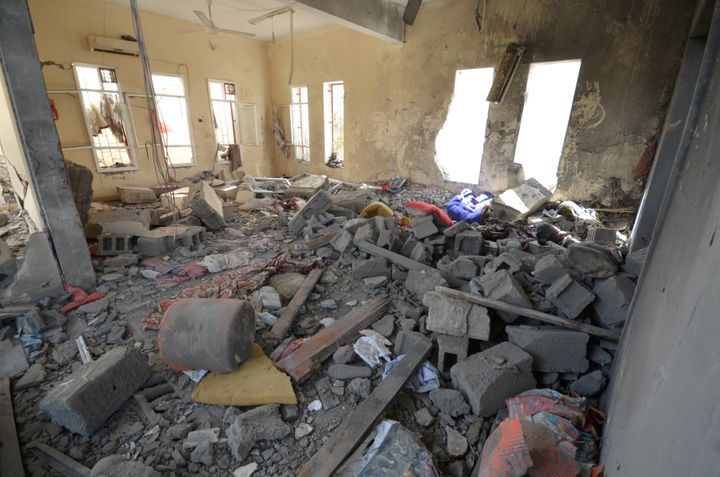 A view of a prison struck by Arab coalition warplanes in al-Zaydiyah district of the Red Sea port city of Hodeidah, Yemen Oct