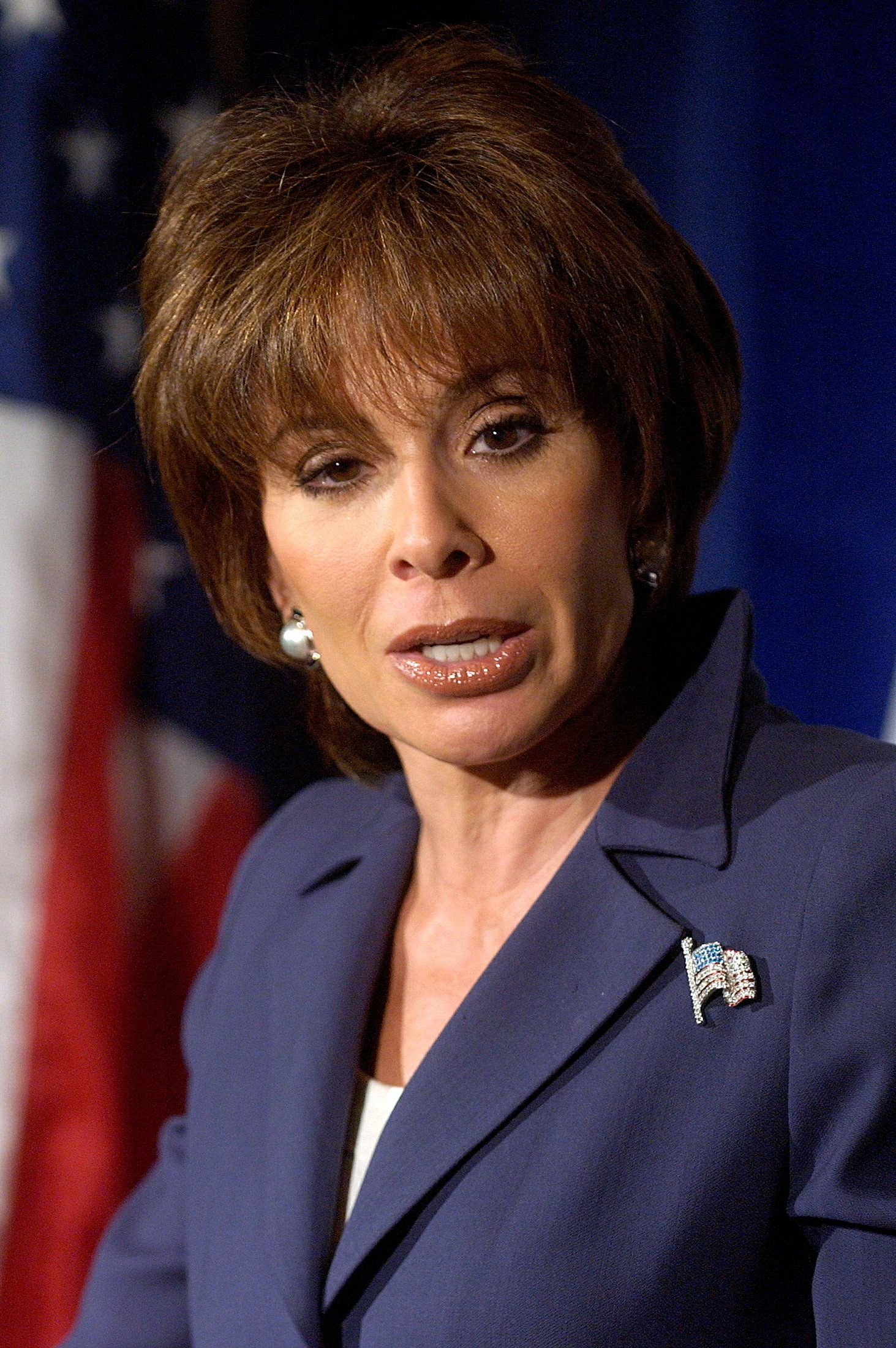 Jeanine Pirro, a high-profile district attorney from the New York suburbs, announces her candidacy for the Republication Party's nomination to challenge [Senator Hillary Clinton] for U.S. Senate in New York August 10, 2005. [Pirro has a reputation for combating domestic violence and prosecuting Internet paedophiles in Westchester County, has long been considered a possible Republican Senate candidate.]