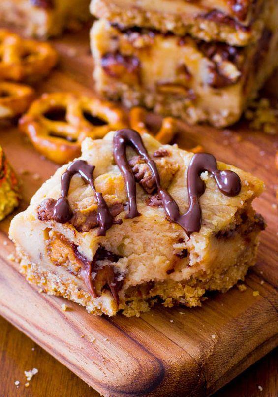 """<strong>Get the <a href=""""http://sallysbakingaddiction.com/2013/07/16/peanut-butter-cup-pretzel-cheesecake-bars/"""" target=""""_bla"""