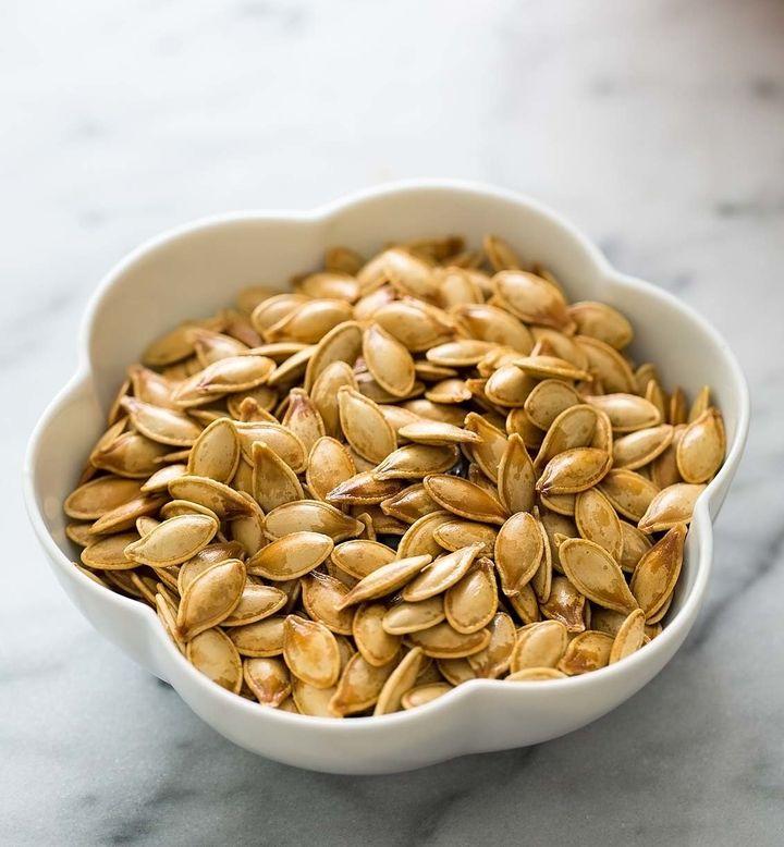 Roasted pumpkin seeds.