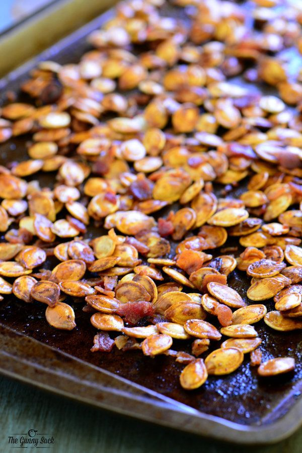 "<strong>Get the <a href=""http://www.thegunnysack.com/bacon-roasted-pumpkin-seeds/"" target=""_blank"">Bacon Roasted Pumpkin Seed"