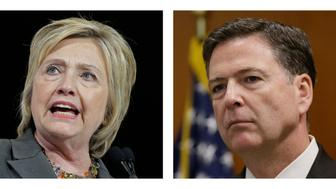 FILE -In this file photo combo, Democratic presidential candidate Hillary Clinton, left, and FBI Director James. Comey. (AP Photo/File)