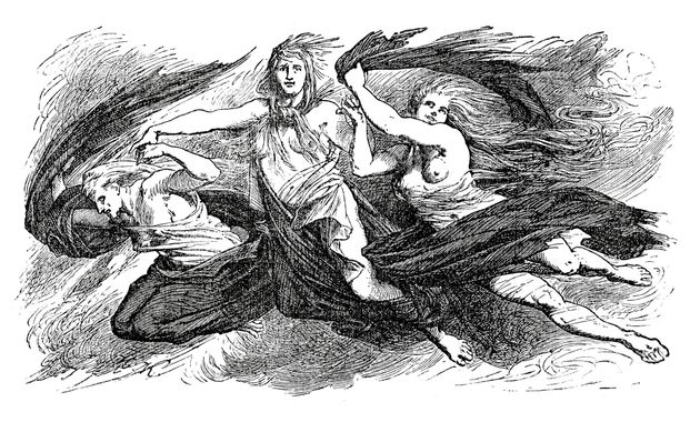 Vintage engraving of the three witches from Shakespeare's