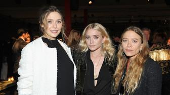 LOS ANGELES, CA - OCTOBER 29:  (L-R)  Actresses Elizabeth Olsen, Ashley Olsen and Mary Kate Olsen attend the 2016 LACMA Art + Film Gala Honoring Robert Irwin and Kathryn Bigelow Presented By Gucci at LACMA on October 29, 2016 in Los Angeles, California.  (Photo by Donato Sardella/Getty Images for LACMA)