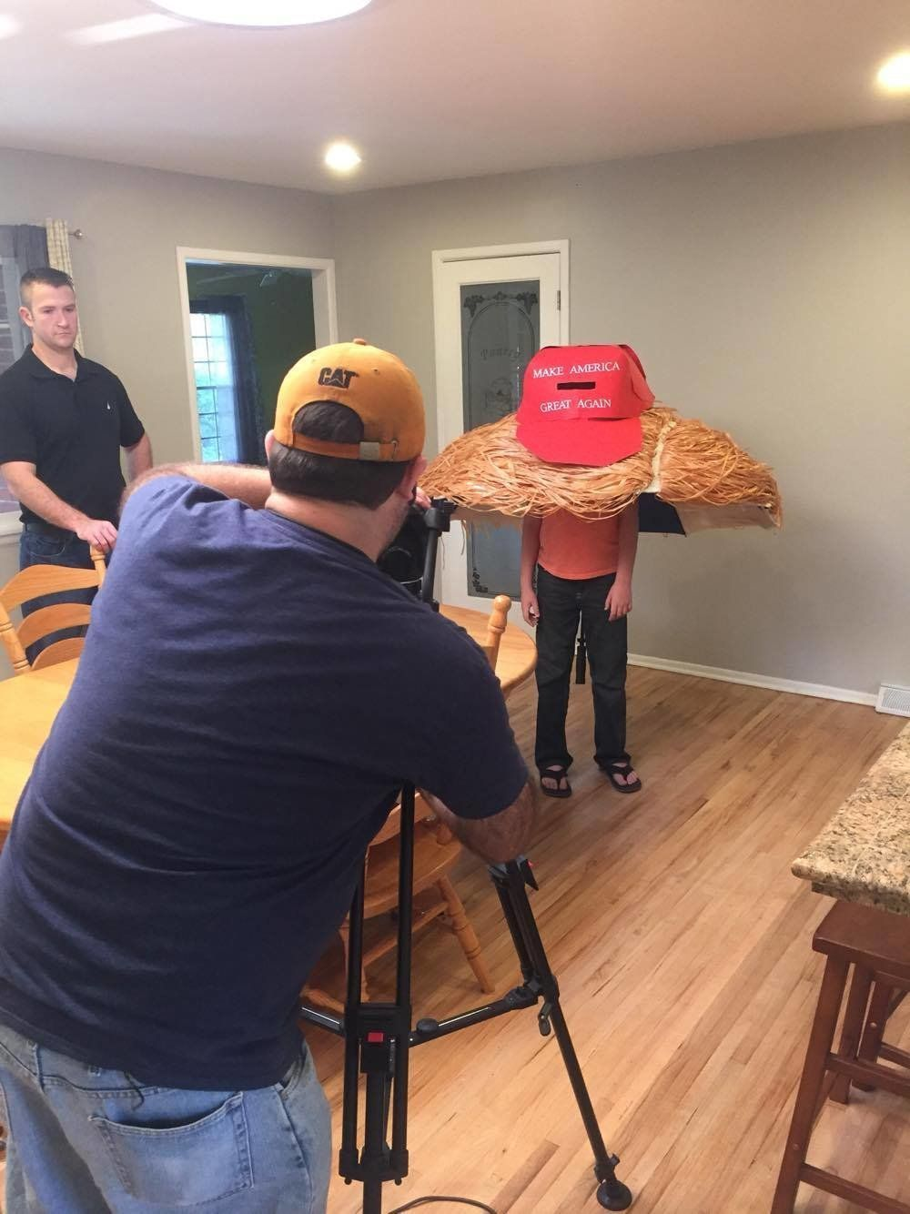 "The giant ""Make America Great Again"" hat is made of poster"