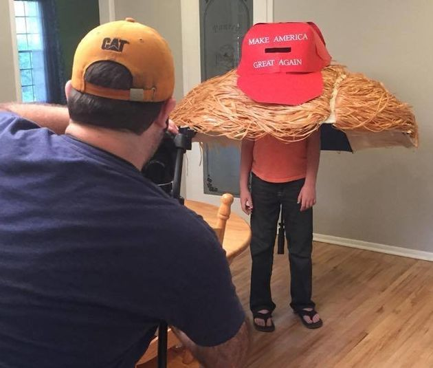 """The giant """"Make America Great Again"""" hat is madeof poster"""