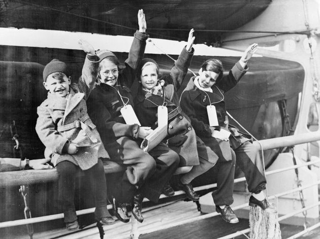 24th March 1939: Four young members of the largest group of German-Jewish refugees arrive at Southampton...