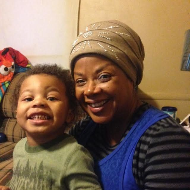 Beverly Jordan with one of her five grandkids.