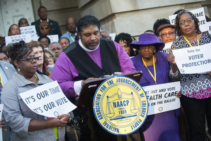 Rev. William Barber of the NAACP holds a press conference last week in Raleigh, North Carolina, to highlight v