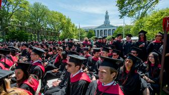 Commencement ceremonies at the Harvard Business School campus in front of Baker Library, in Boston, MA on May 29, 2014. (Photo by Rick Friedman/rickfriedman.com/Corbis via Getty Images)