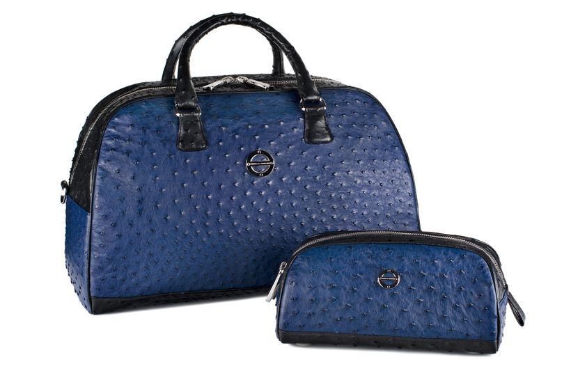 Madison Sports Bag Set in Iris Blue & Black Ostrich