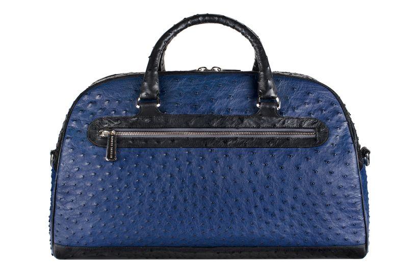 Madison Sports Bag in Iris Blue & Black Ostrich