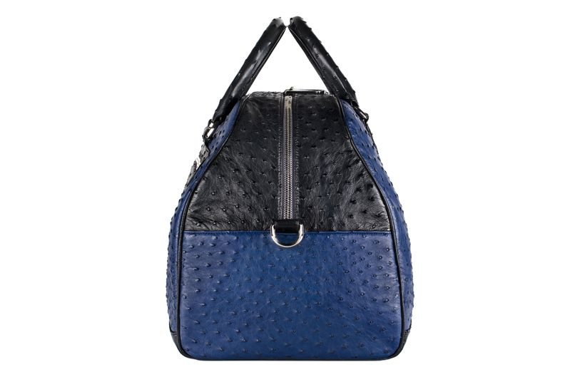 The Madison Sports Bag in Iris Blue & Black Ostrich