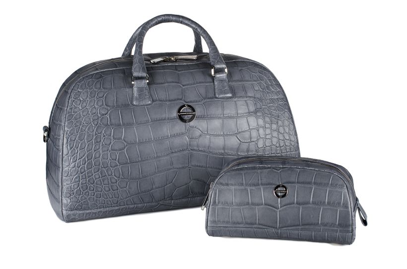 The Madison Duffle Set in Anthracite Alligator