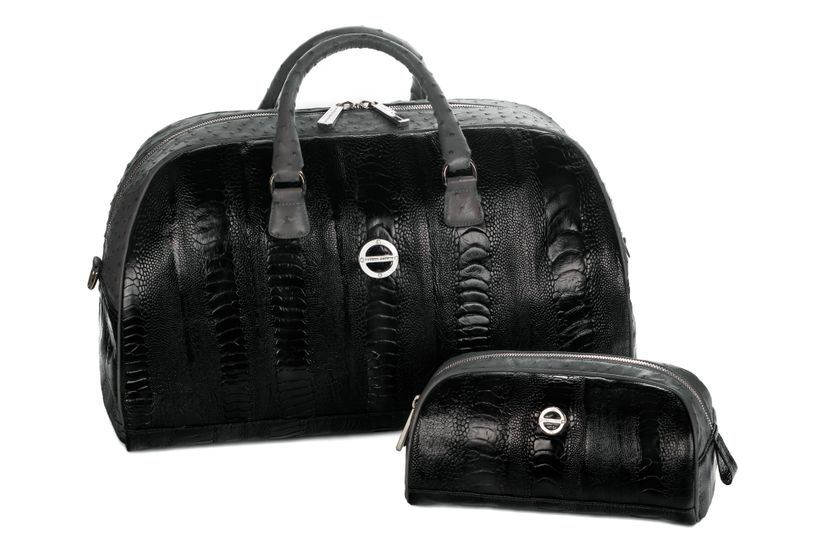 The Madison Duffle Set in Black Ostrich Leg & Anthracite Ostrich