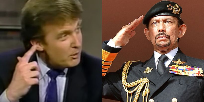 Left: Donald Trump on David Letterman Show in 1988 discussing buying a boat from the Sultan of Brunei to cover tracks for doi