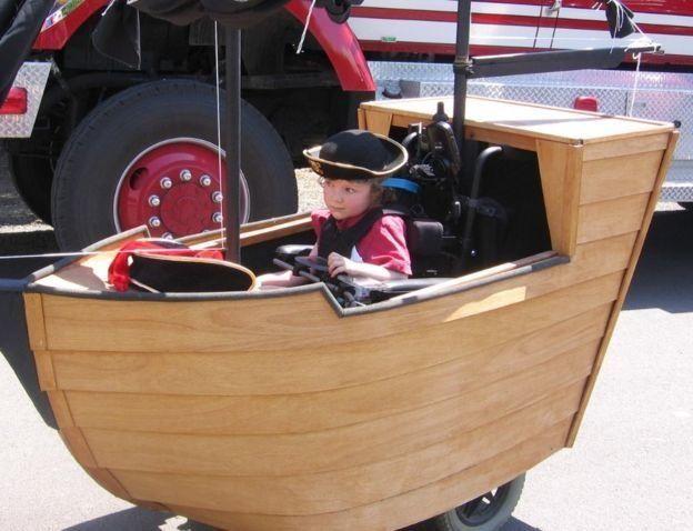Keaton in his pirate ship.