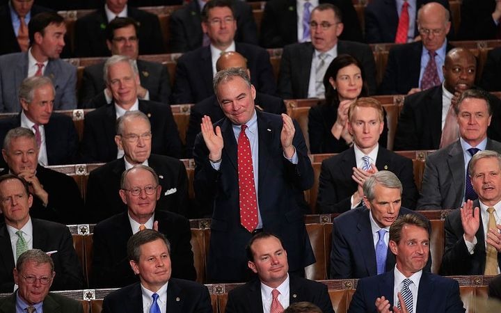 Senator Kaine applauds during President Obama's 2015 State of the Union.