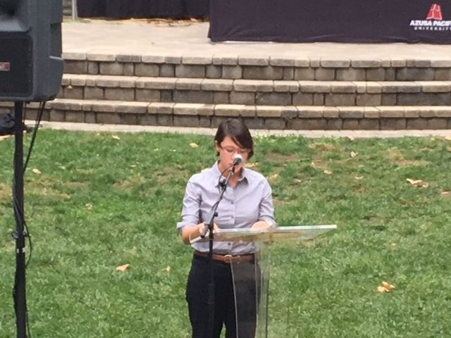 Jessica Wong, Ph.D., delivers her address.