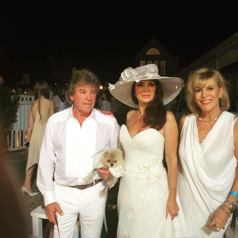 Lisa Vanderpump (C) with dog Giggy, Husband Ken Todd (L) and Sue at BellaNYC Summer White Party, NY