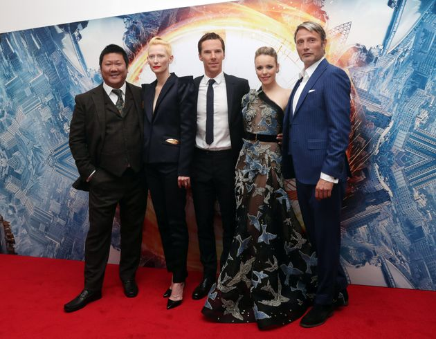 Mads with his fellow 'Doctor Strange' stars Benedict Wong, Tilda Swinton, Benedict Cumberbatch and Rachel