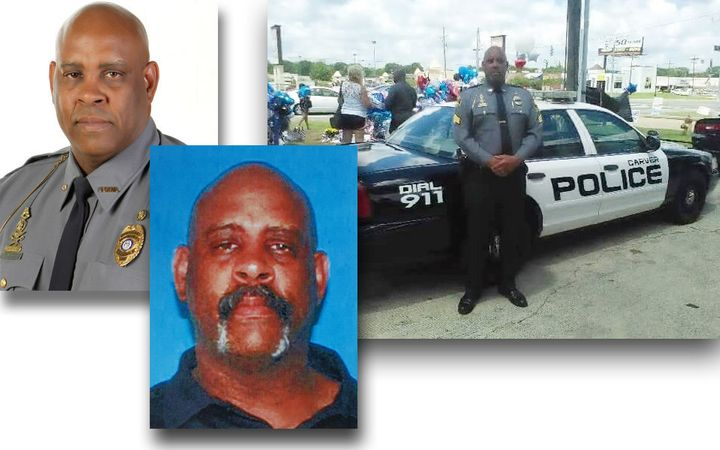 Photos showing Victor Gant. The left image is from the Carver College Police Department website; the center photo w