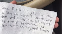 Note On Napkin Says Thief Broke Into Car Only To Steal Kit
