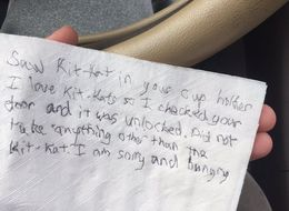Note On Napkin Says Thief Broke Into Car Only To Steal Kit Kat