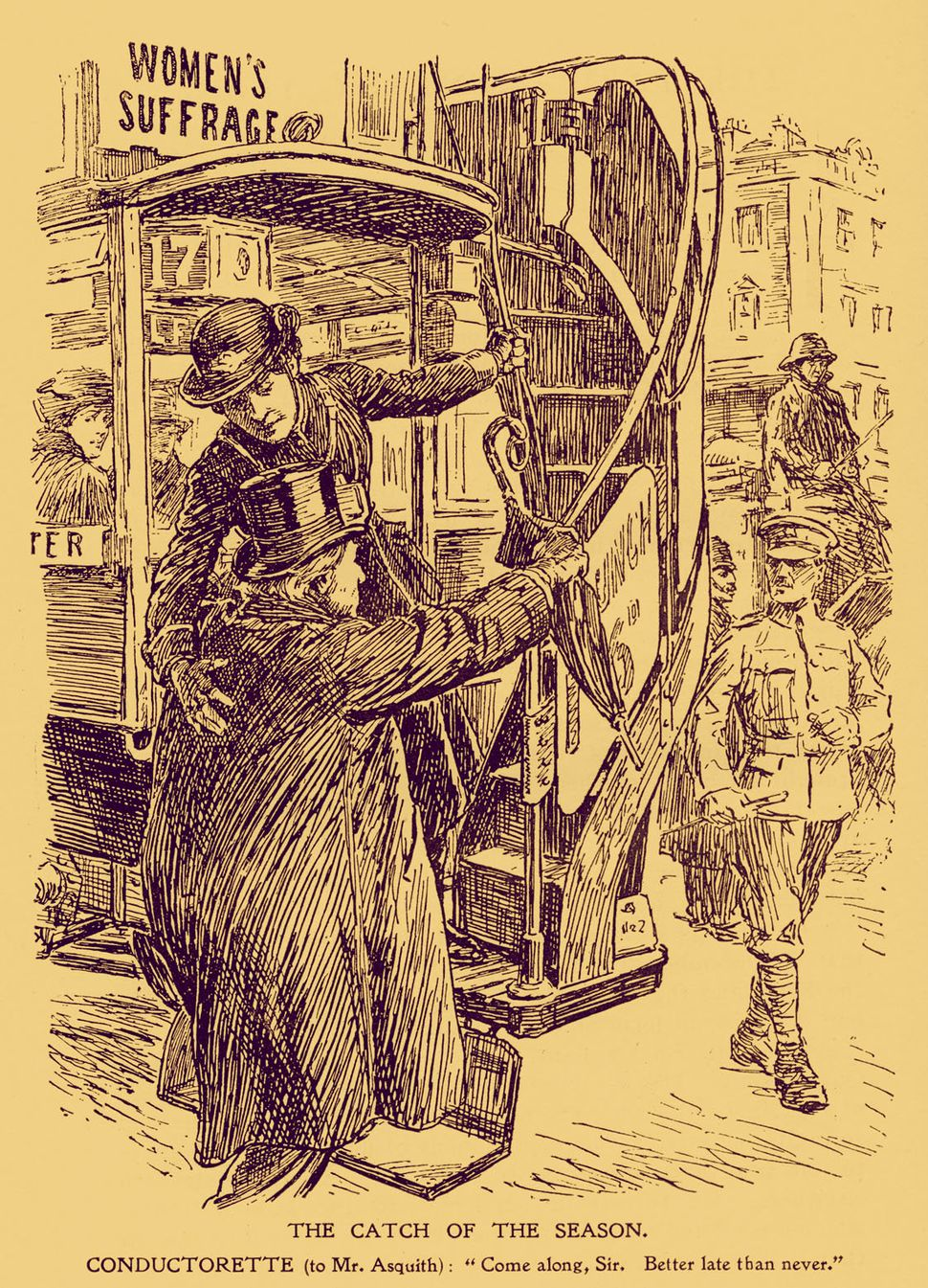 A World War I caricature of a female bus conductor helping British politician Lord Asquith onto a bus. Asquith changed his po