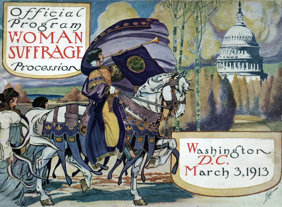 A leaflet for the National American Women's Suffrage Associate that features a woman on horse riding towards the White House