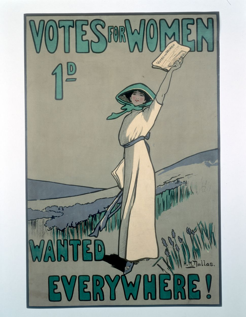 A suffragette poster created by Hilda Dallas who was a member of the WSPU. She studied at the Slade School of Art from 1
