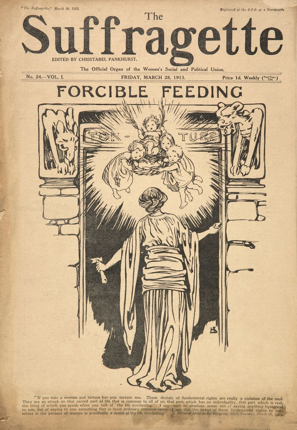 An illustration depicting force feeding as torture, published in The Suffragette magazine on March 28, 1913. The magazine was