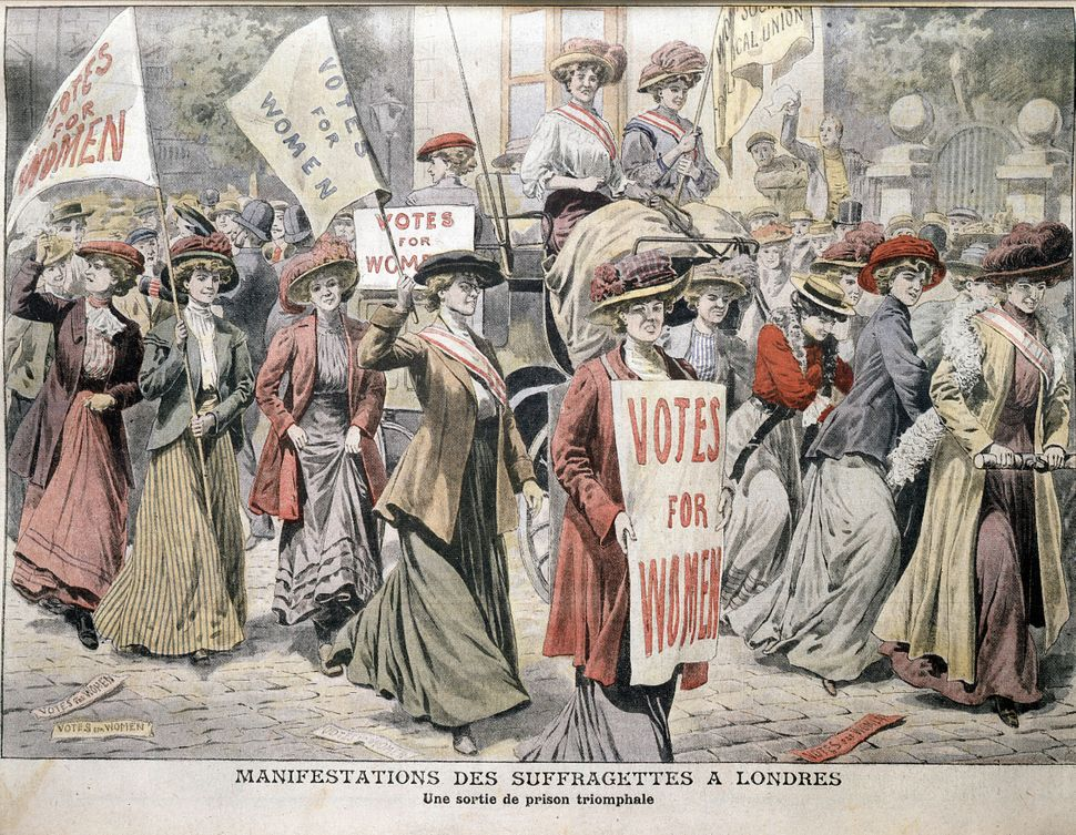 An illustration of English suffragettes Edith New and Mary Leigh being carried triumphantly through London streets after bein