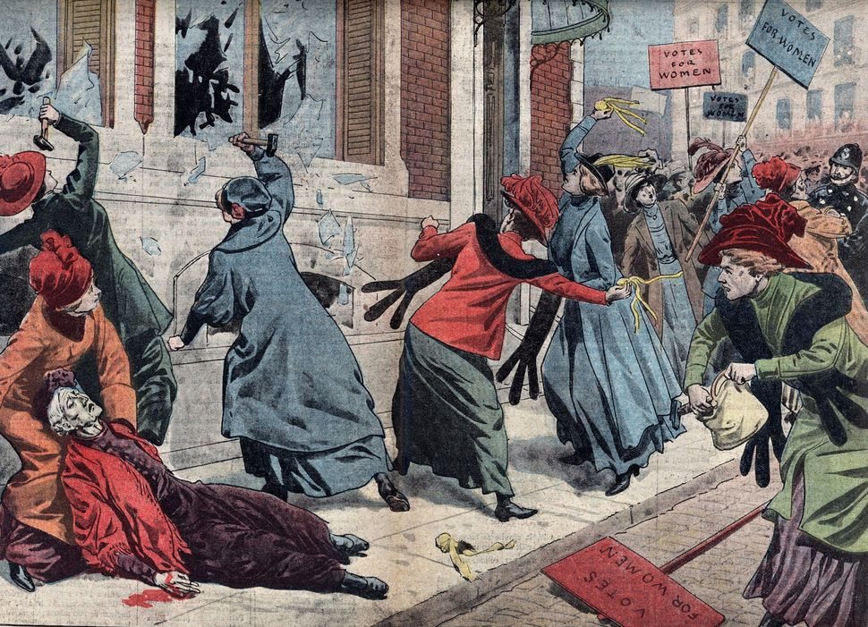 Suffragettes demonstrate for the right to vote in London, England. Illustration published in Le Pelerin on Mar