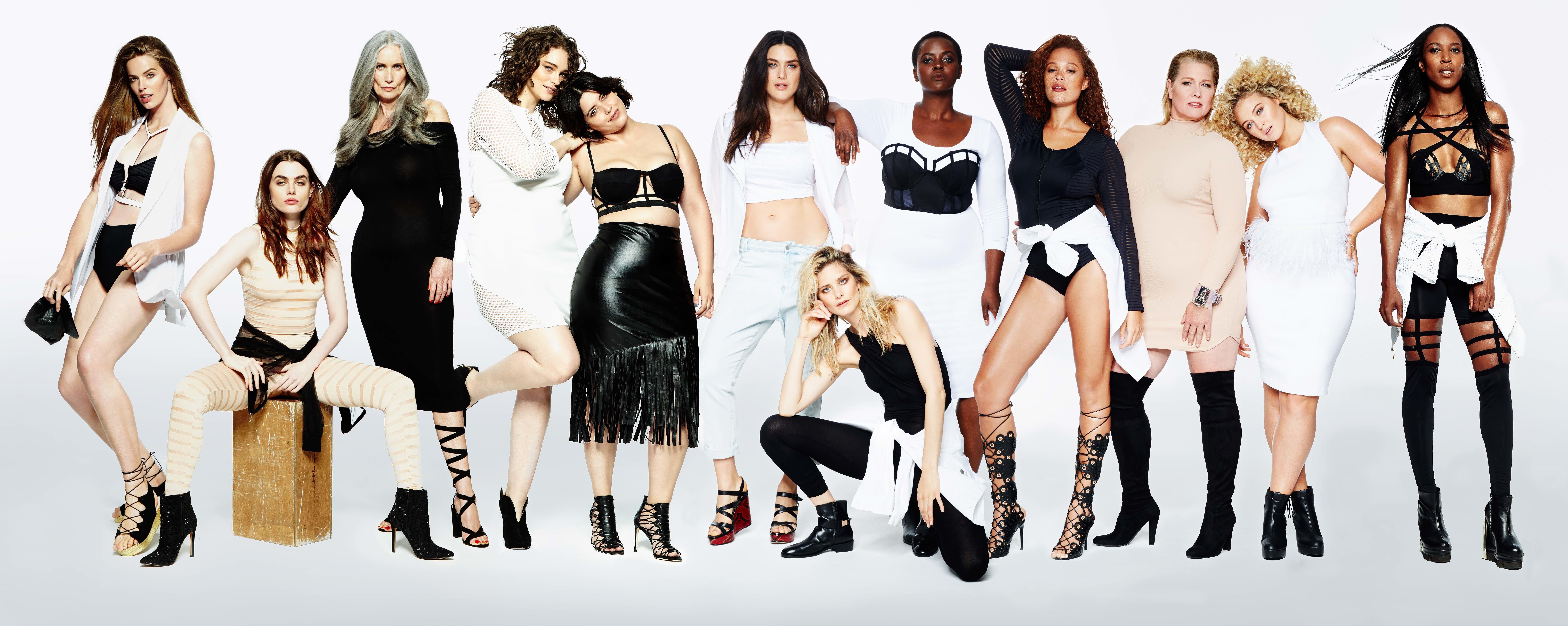 L to R: Robyn Lawley, Charli Howard, Nicola Griffin, Jennie Runk, Denise Bidot, Nathalia Novaes, Erica...
