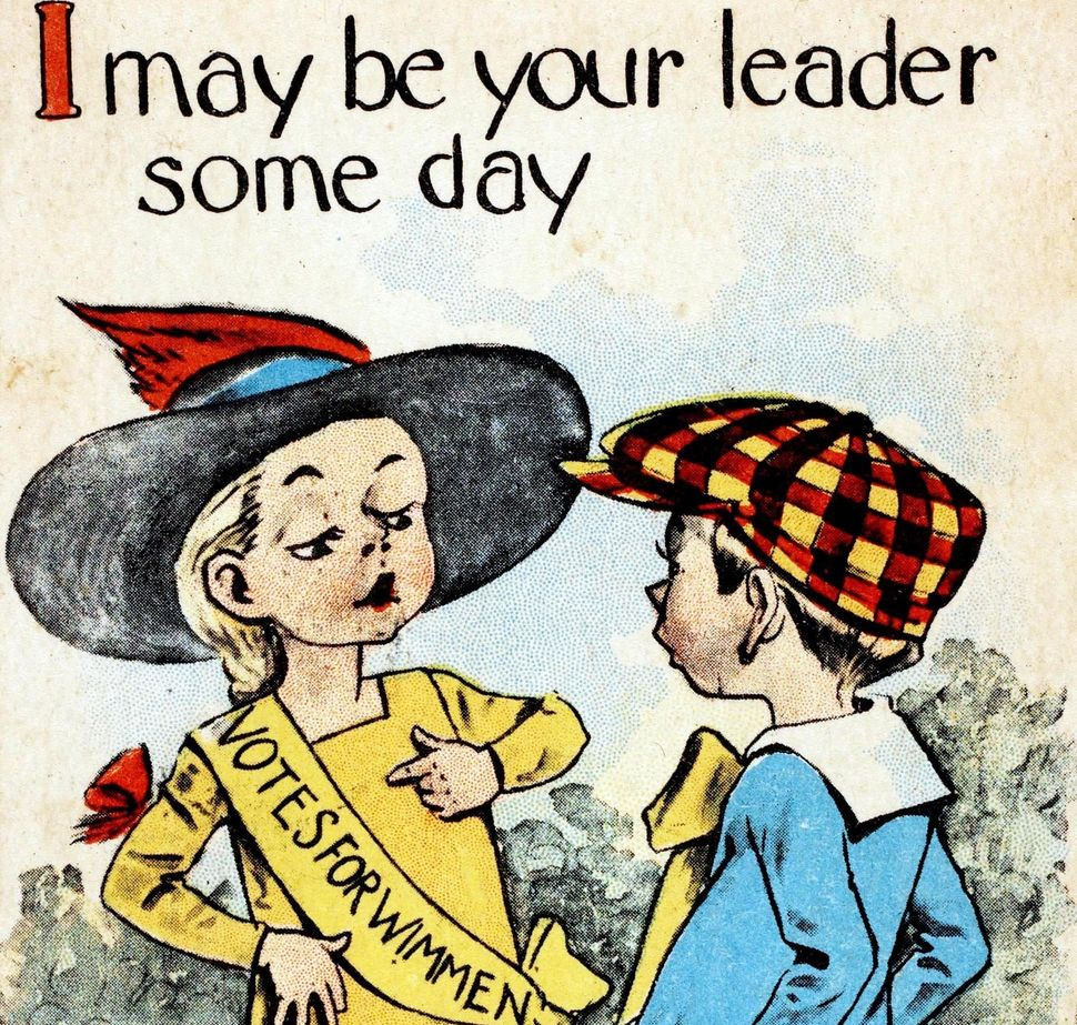 "A 1912 color illustration of a girl wearing a yellow banner which has ""Votes for Wimmen."""